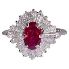Oval Ruby & Baguette Diamond Ring