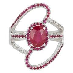 Oval Ruby Diamond Design Fashion Statement Ring 14 Karat White Gold