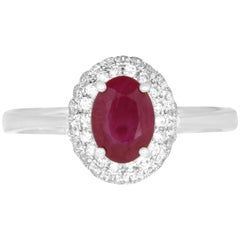Oval Ruby and White Diamond Halo Engagement Ring 14K White Gold