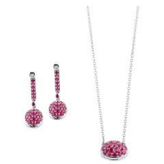 Oval Ruby Pendant and Earrings
