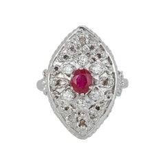 Oval Ruby Round Diamond Marquise Vintage Antique Cocktail Ring 14k White Gold