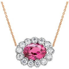 Oval Ruby Surrounded by Diamonds White and Rose Gold Layered Necklace Pendant