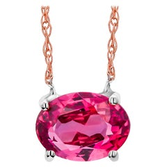 Oval Ruby Weighing 1.04 Carat Rose Gold Pendant Necklace