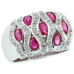 Oval Ruby with Diamond Swirls Ring, 18 Karat White Gold
