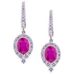 Oval Ruby with Round Diamonds White Gold Pendant Earrings