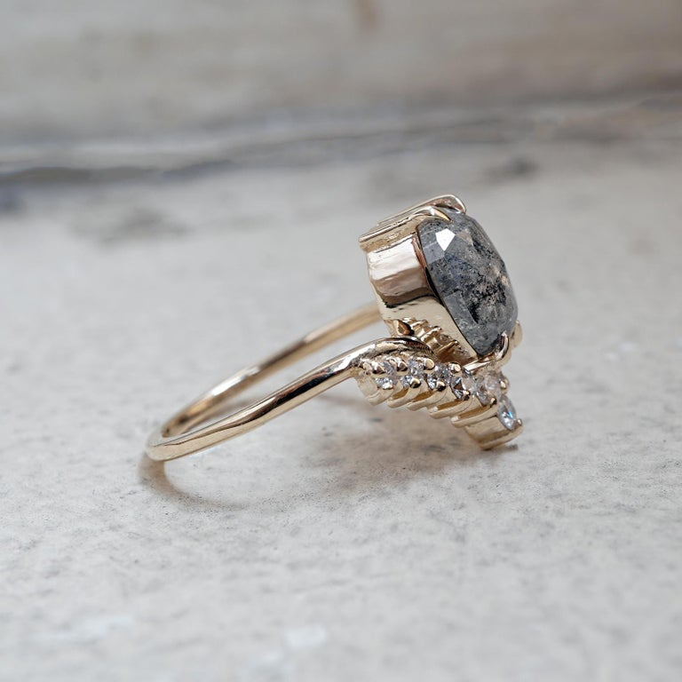 Oval Salt And Pepper Diamond Engagement Ring For Sale At