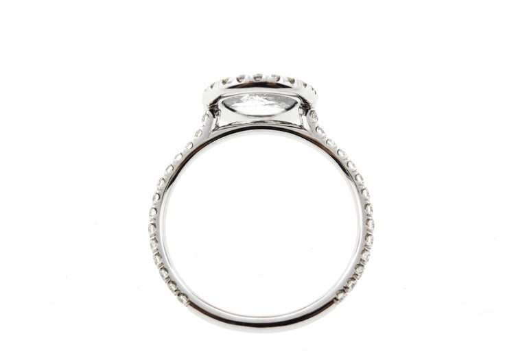 Modern Oval Salt and Pepper Diamond Halo Engagement Ring For Sale