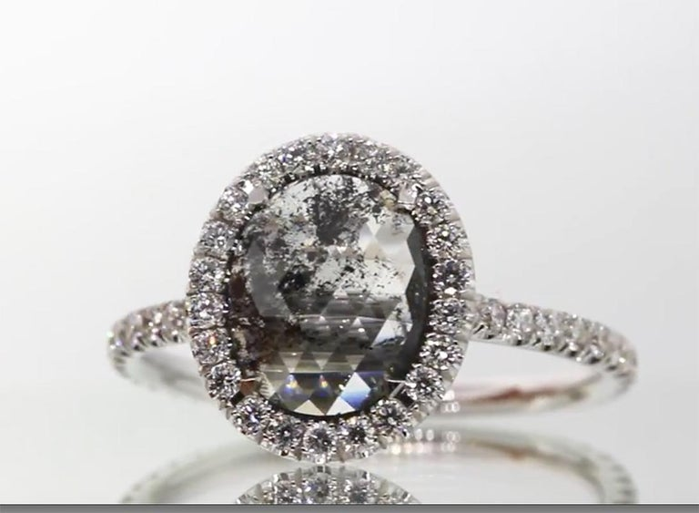 Oval Cut Oval Salt and Pepper Diamond Halo Engagement Ring For Sale