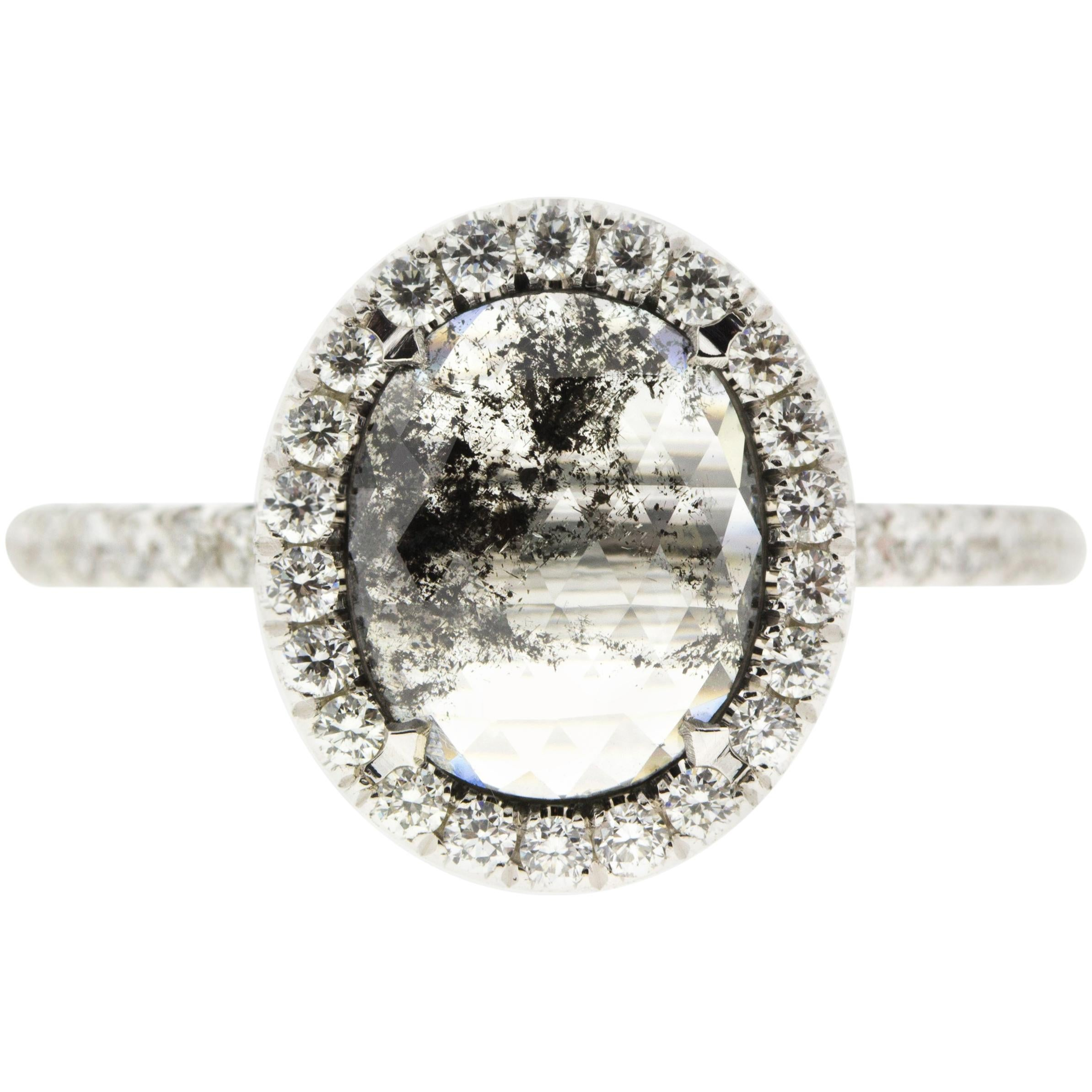 Oval Salt and Pepper Diamond Halo Engagement Ring