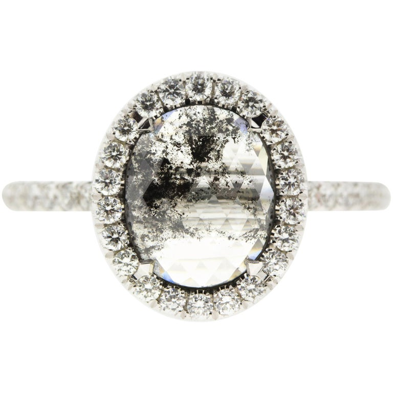 Oval Salt and Pepper Diamond Halo Engagement Ring For Sale