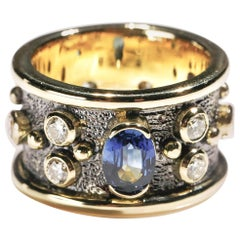 Oval Sapphire 1 Carat Diamond 18 Karat Yellow Gold Cigar Band Ring US Size 7