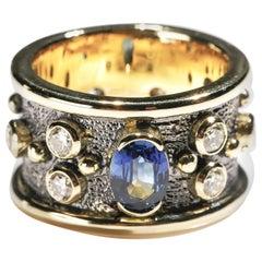 Oval Sapphire 1 Carat Diamond 18 Karat Yellow Gold Cigar Band Ring US Size 8