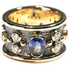 Oval Sapphire 1 Carat Diamond 18 Karat Yellow Gold Cigar Band Ring US Size 6