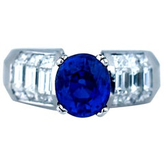 Oval Sapphire and Diamond Baguette Invisible Ring 4.89 Carat