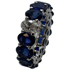 Oval Sapphire and Diamond Eternity Band Ring