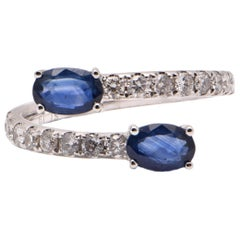Oval Sapphire and Diamond Split Cocktail Ring in 18 Carat White Gold