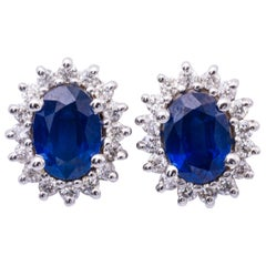 Oval Sapphire and Diamond Studs Earrings