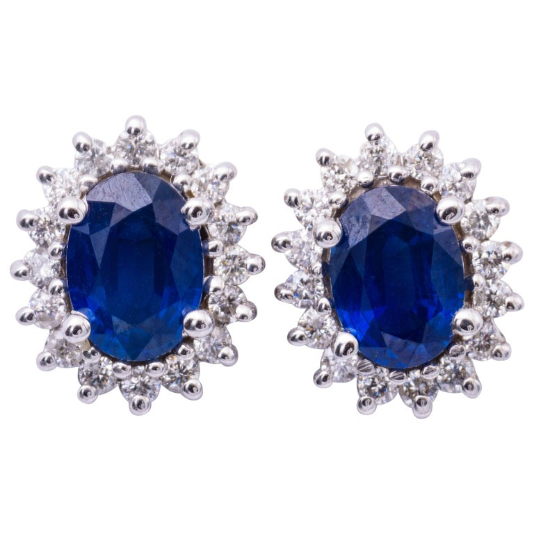 Oval Sapphire and Diamond Studs Earrings For Sale
