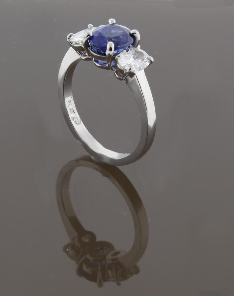 Oval Sapphire and Diamond Three-Stone Ring In New Condition For Sale In Bethesda, MD