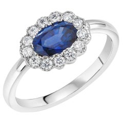 Oval Sapphire and Diamond White Gold Cocktail Cluster Ring