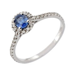 Gilberto Cassola Oval Sapphire and Diamonds White Gold Ring Made in Italy