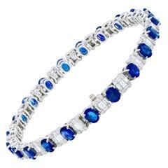 Oval Sapphire and Illusion Emerald Diamond Bracelet