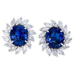 Oval Sapphire and Marquise Diamond Earrings