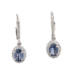 Oval Sapphire Diamond Halo Drop Earrings Brillium Treated 2.26 Carats 14kt