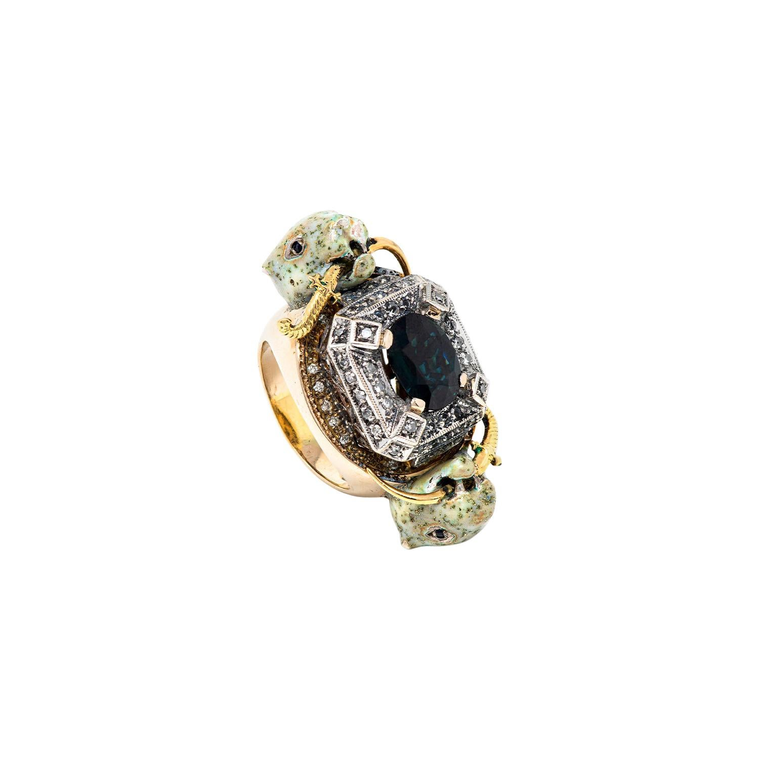 Oval Sapphire Diamonds Leopards White Gold Ring
