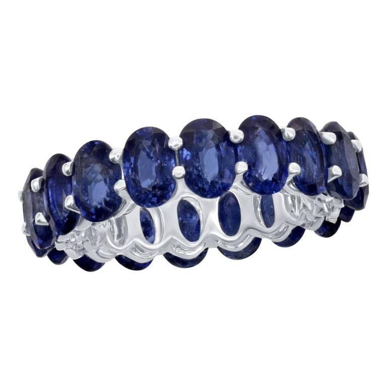 Oval Sapphire Eternity Ring 12 Carat For Sale