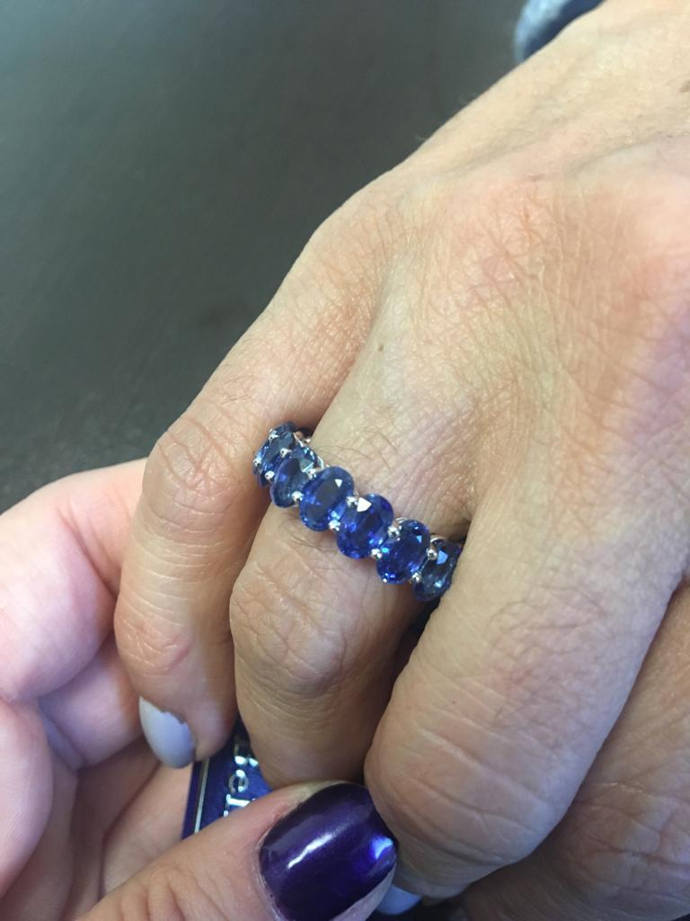 Oval Cut Oval Sapphire Eternity Ring 12 Carat For Sale