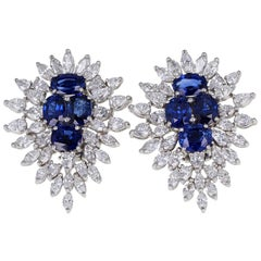 Oval Sapphire Marquise Diamond Cluster Earrings