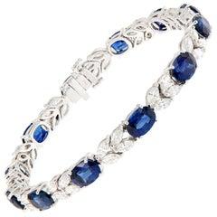 Oval Sapphire Marquise Diamond Gold Bracelet