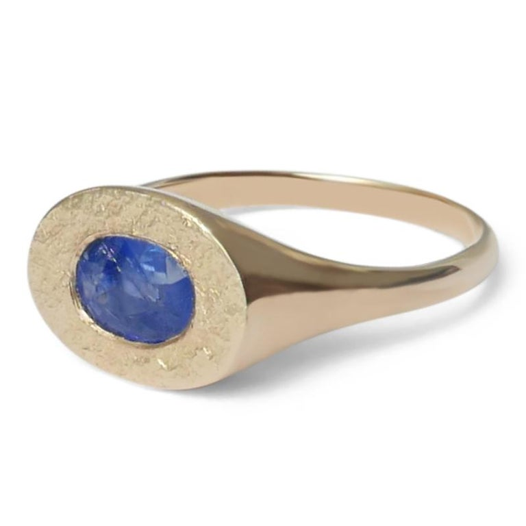 Oval Cut Oval Sapphire Signet Ring in 14 Karat Gold by Allison Bryan For Sale