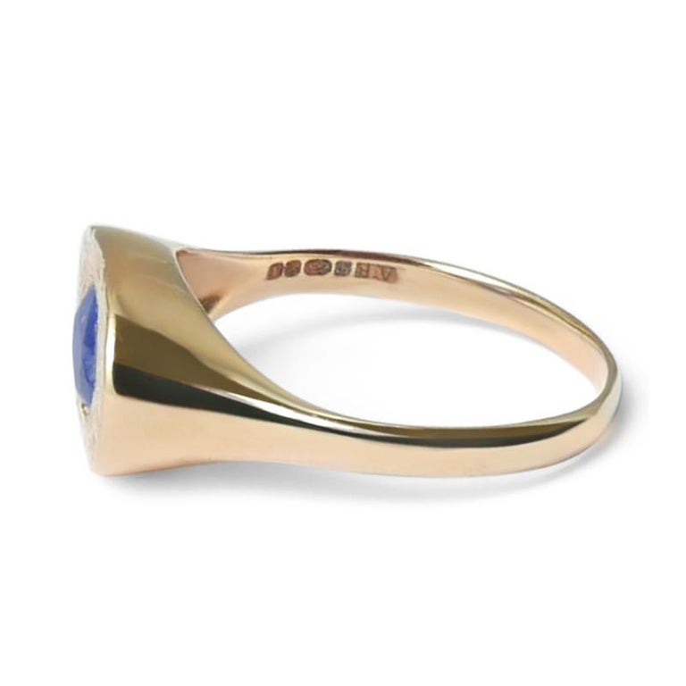Oval Sapphire Signet Ring in 14 Karat Gold by Allison Bryan In New Condition For Sale In London, GB