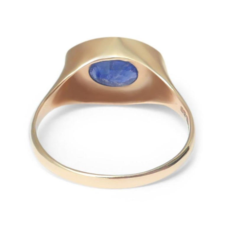 Women's or Men's Oval Sapphire Signet Ring in 14 Karat Gold by Allison Bryan For Sale