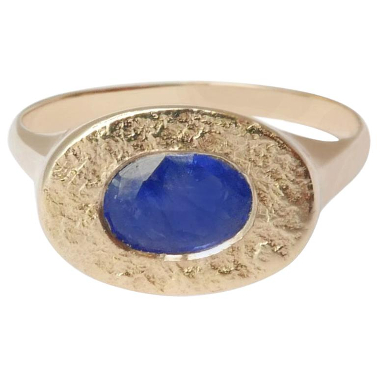 Oval Sapphire Signet Ring in 14 Karat Gold by Allison Bryan For Sale