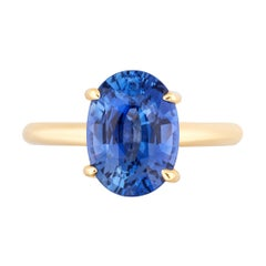 Oval Sapphire Solitaire Ring