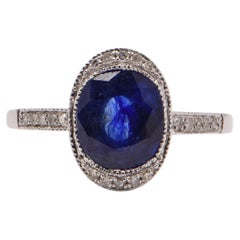 Oval Sapphire 'Treated' and Diamond Cocktail Ring in 18 Carat White Gold