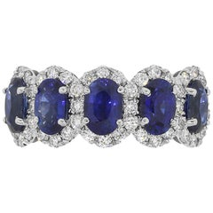Oval Sapphire with Diamond Halo Band