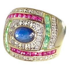 Oval Sapphire with Princess Cut Emeralds, Rubies and Round Diamonds 14K YG