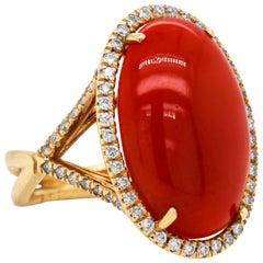 Oval Sardinian Coral 18 Karat Yellow Gold Diamond Cocktail Ring