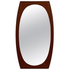 Oval Scandinavian Wood Wall Mirror, 1960s