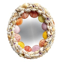 Oval Sea Shell Encrusted Wall Mirror in Pink, Purple and Yellow