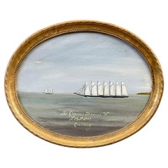"""Oval Seascape Ship Painting of the """"Thomas W. Lawson"""" Seven-Masted Schooner"""