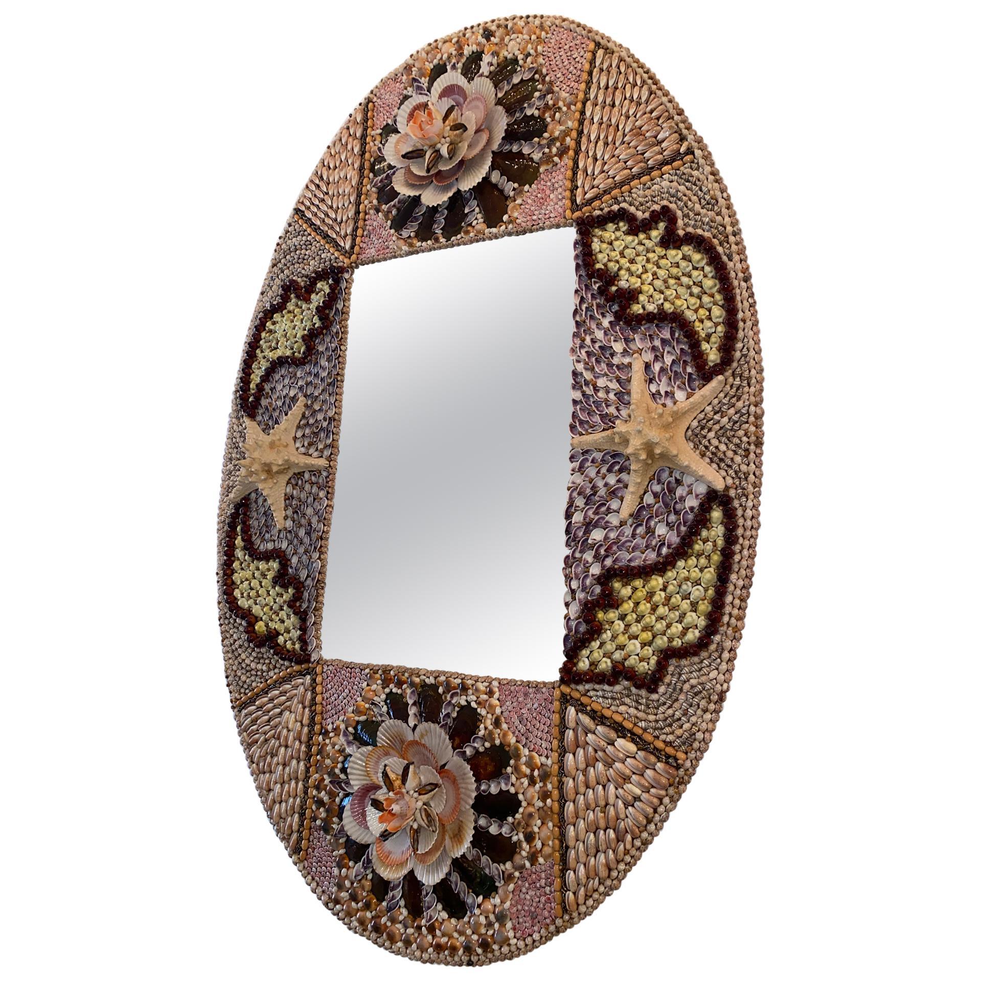 Oval Seashell Encrusted Wall Mirror