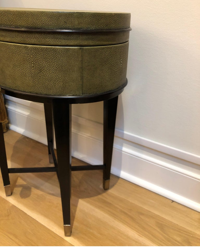 20th Century Oval Shagreen Side Table, Attributed to R & Y Augousti, Made in France  For Sale