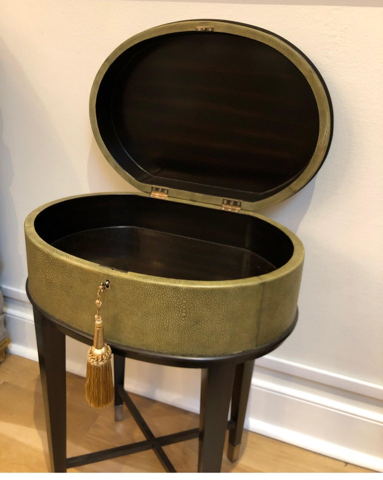 Oval Shagreen Side Table, Attributed to R & Y Augousti, Made in France  For Sale 1