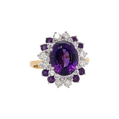 Oval Shape Amethyst Cluster Ring 6.10 Carats 14 Karat Yellow White Gold