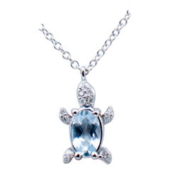 Oval Shape Aquamarine,White Diamonds,18 Karat White Gold,Turtle Pendant Necklace